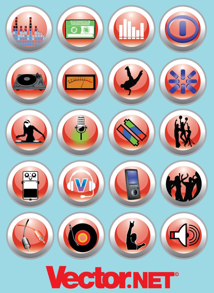 free vector Free Vector Music and Nightlife Icon Set