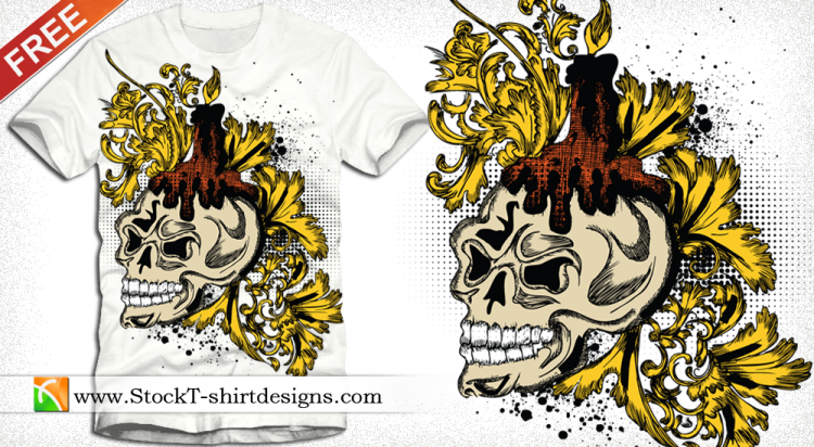 free vector Free Vector Skull and Floral T-shirt Design