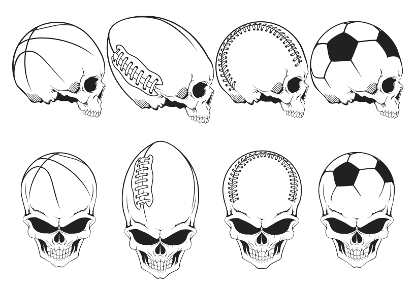 free vector Free Vector Sports Skulls Pack
