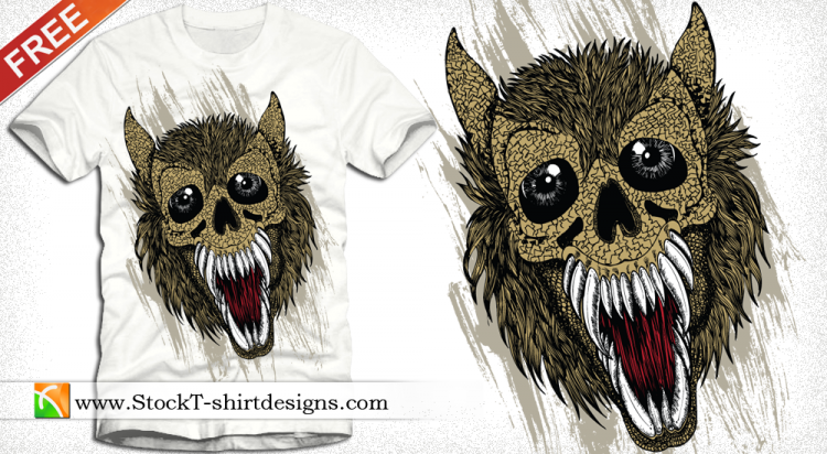 free vector Free Vector T-shirt Design with Wolf