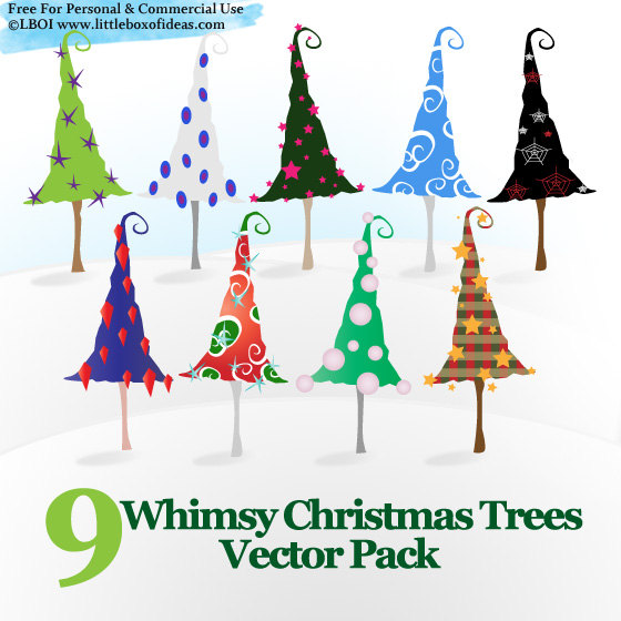 free vector Free Whimsy Christmas Trees Vectors