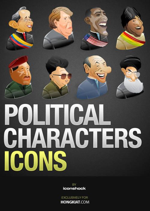 free vector Freebie: 8 Political Characters Icon Set