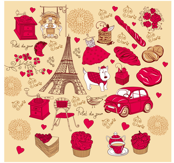 free vector French red rose theme vector