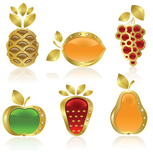 free vector Fruit theme vector diamond