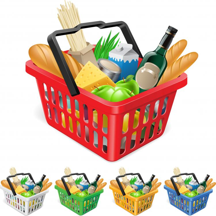 free vector Fruits and vegetables and shopping basket 03 vector