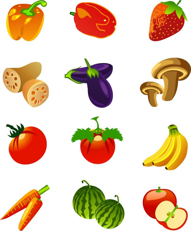Fruits and vegetables motor flower icon vector Free Vector ...