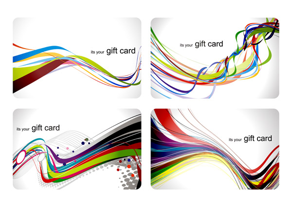 free vector Fun gift card dynamic lines of the background vector