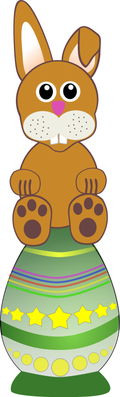 free vector Funny baby bunny sitting on an Easter egg