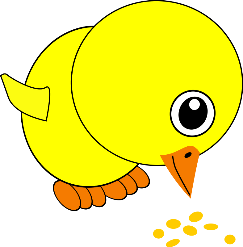 free vector Funny Chick Eating Bird Seed Cartoon