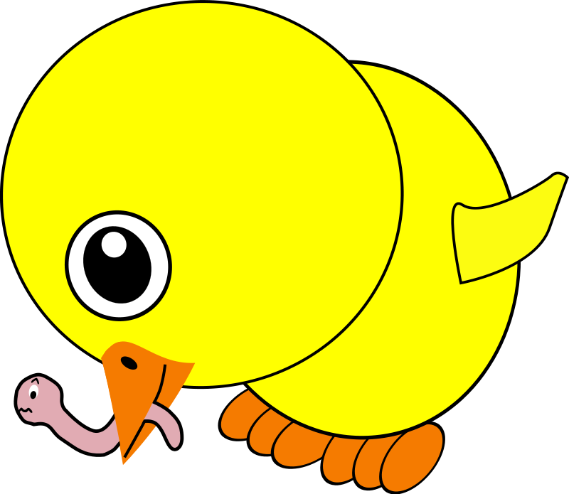 free vector Funny Chick Eating Earthworm Cartoon