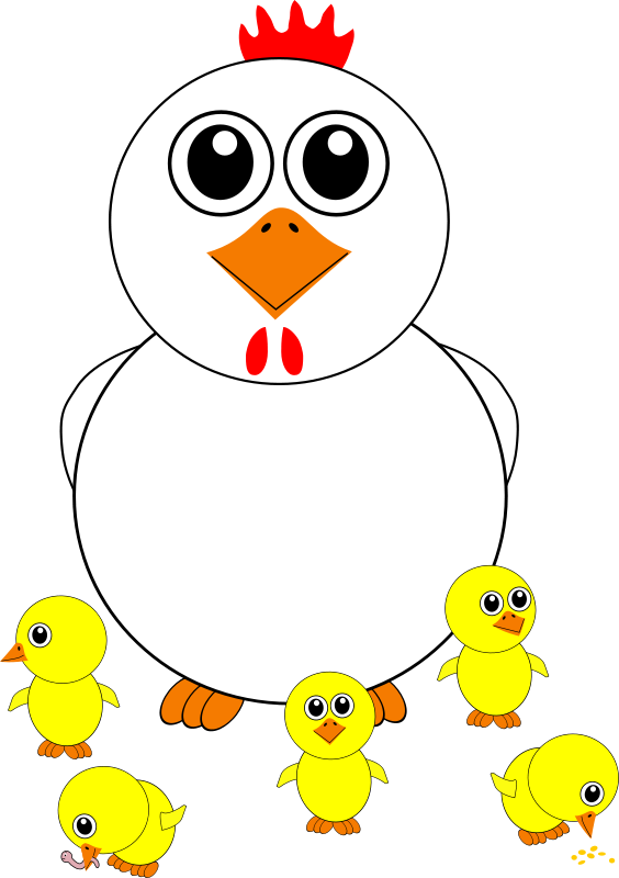 free vector Funny Chicken and Chicks Cartoon