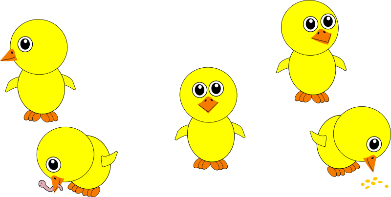 free vector Funny Chicks Eating and in multiple positions Cartoon