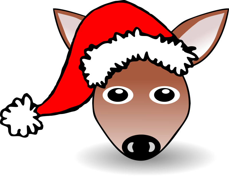 free vector Funny Fawn Face Brown Cartoon with Santa Claus hat
