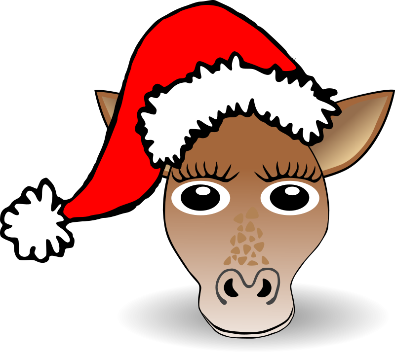 free vector Funny Giraffe Face Cartoon with Santa Claus hat