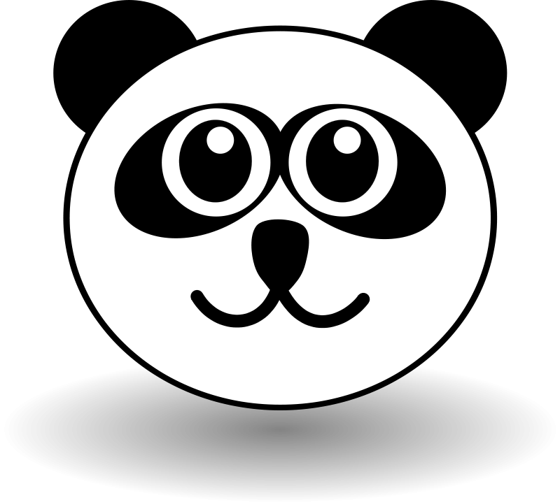 free vector Funny panda face black and white