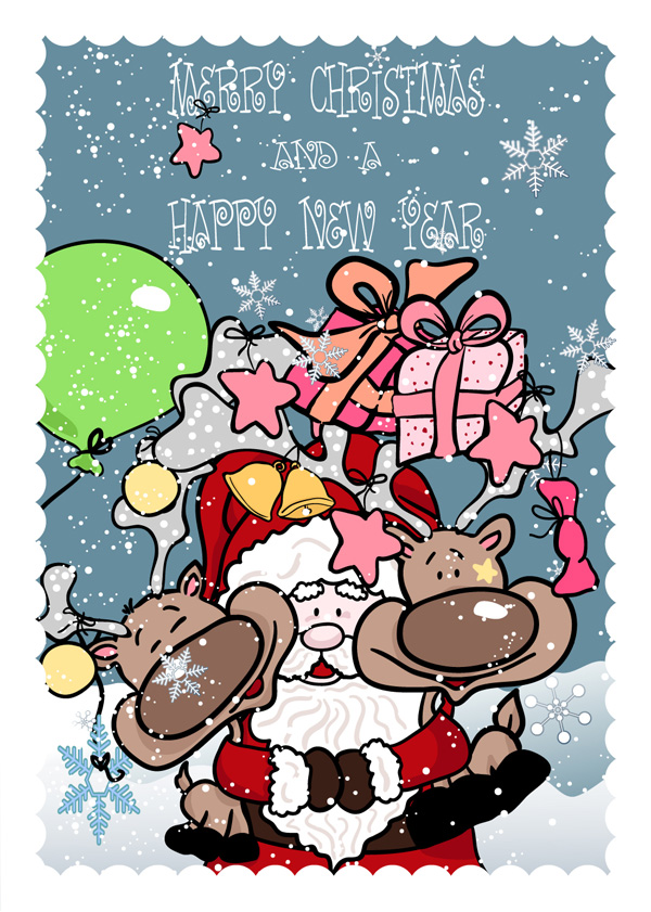 free vector Funny santa claus and elk vector