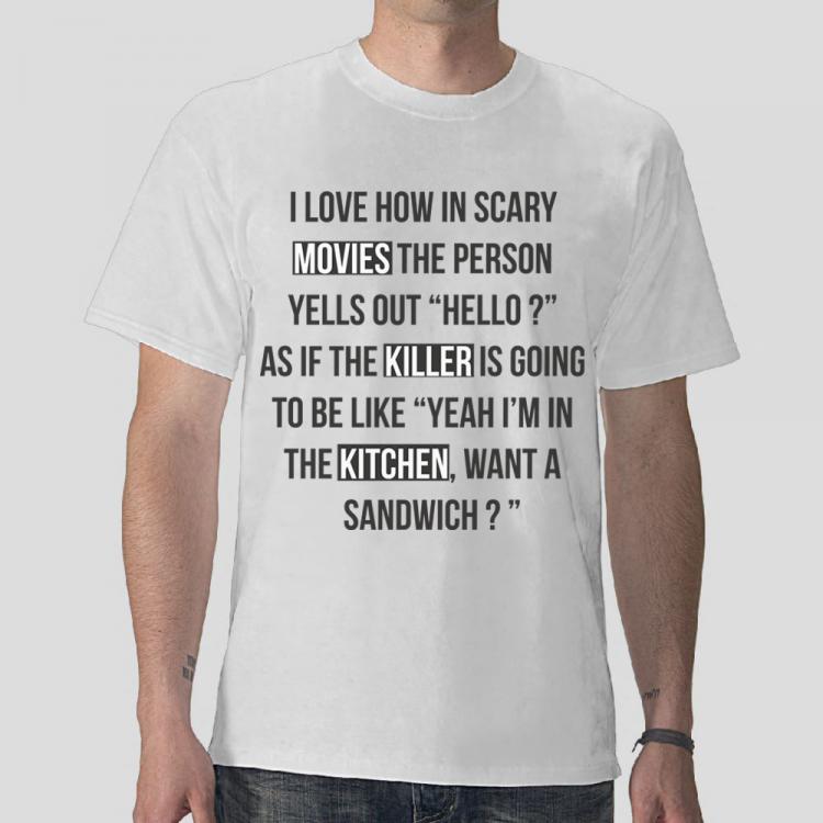 free vector Funny T-Shirt: Movies, Killer, Kitchen
