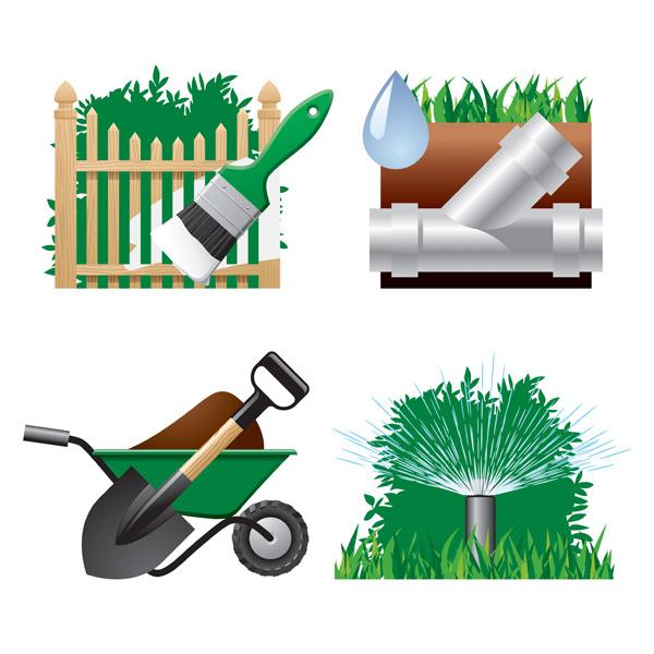 Garden theme icon vector free vector 4vector for Gardening tools vector