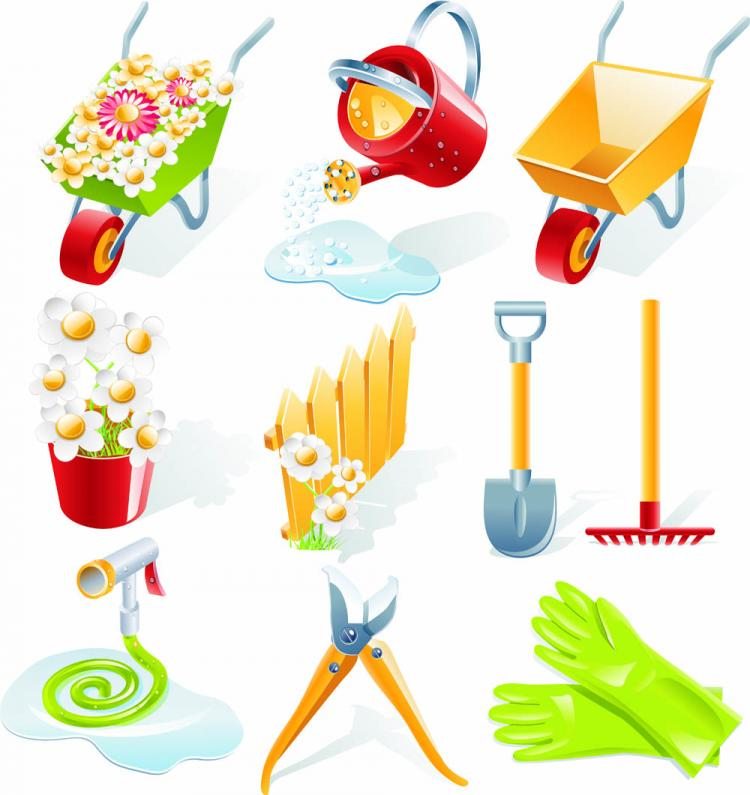 Gardening vector tools free vector 4vector for Gardening tools 4 letters