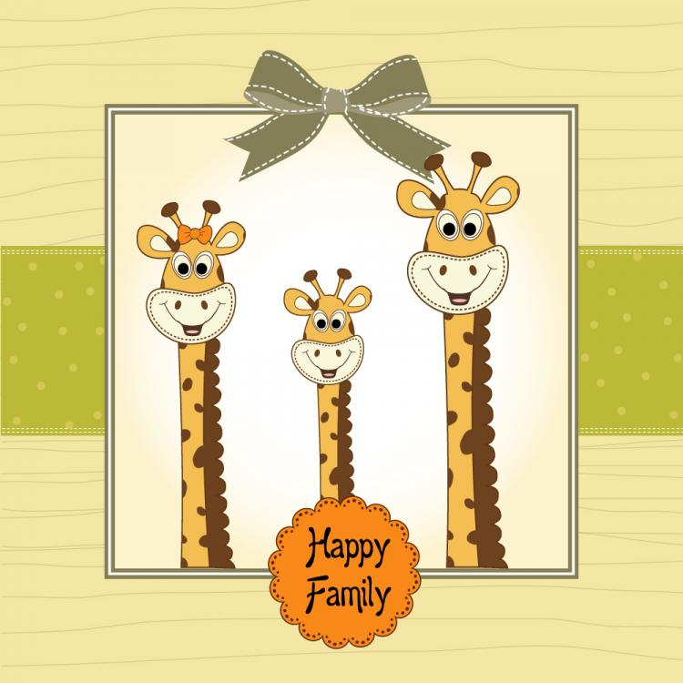 free vector Giraffe greeting card 01 vector