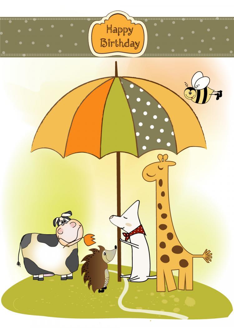 free vector Giraffe greeting card 02 vector