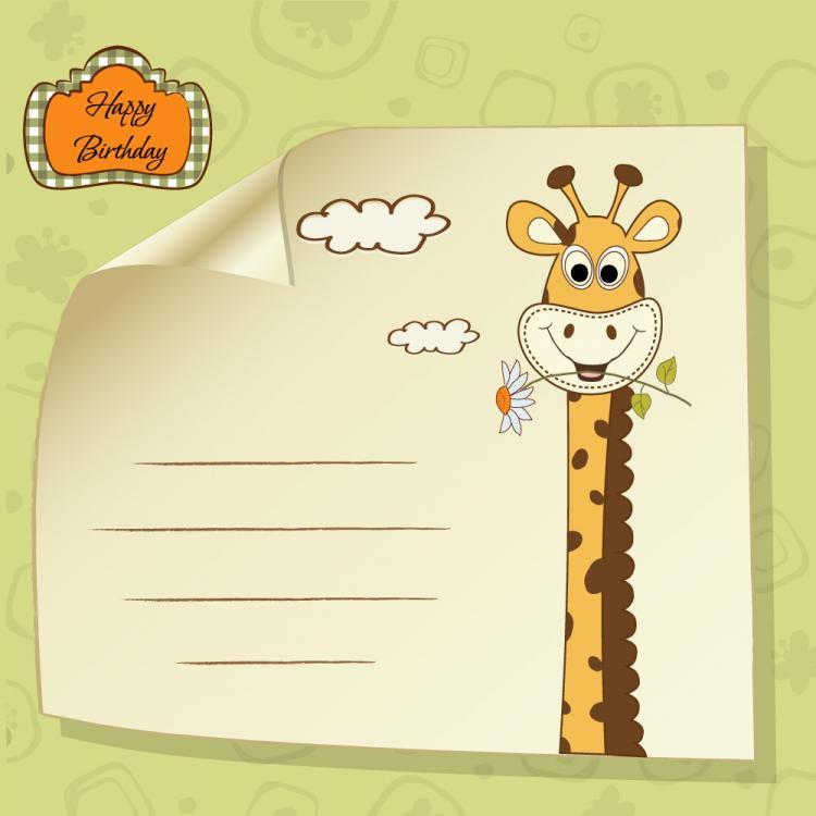 free vector Giraffe greeting card 04 vector