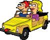 free vector Girl And Boy Driving Car Cartoon clip art
