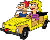 free vector Girl And Boy Driving Car Cartoon clip art