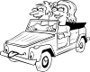 free vector Girl And Boy Driving Car Cartoon Outline clip art