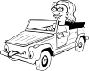 free vector Girl Driving Car Cartoon Outline clip art