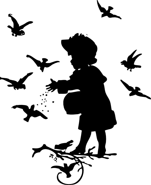 free vector Girl Feeding Birds clip art