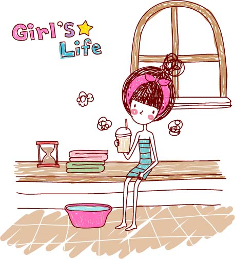 free vector Girl life vector eps girl life10