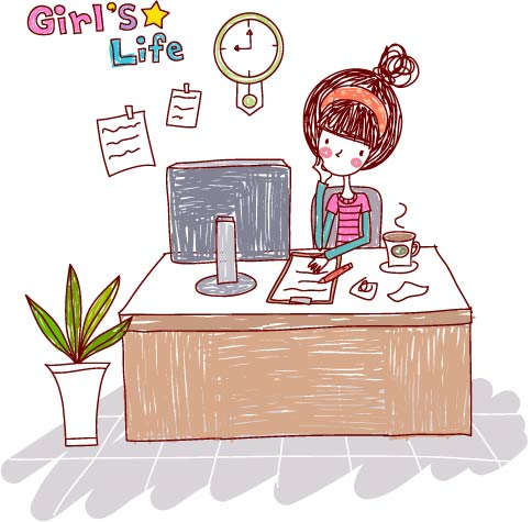 free vector Girl life vector eps girl life4