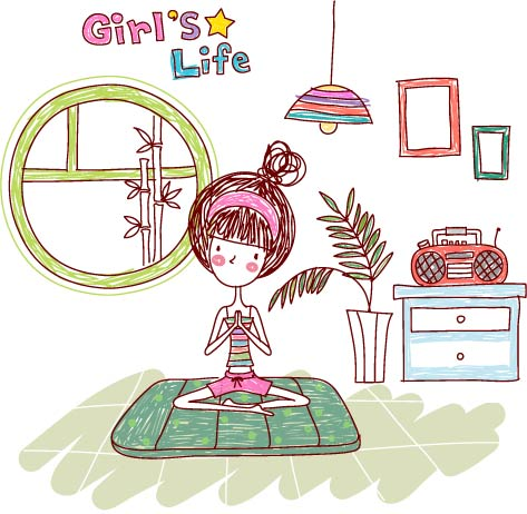 free vector Girl life vector eps girl life5