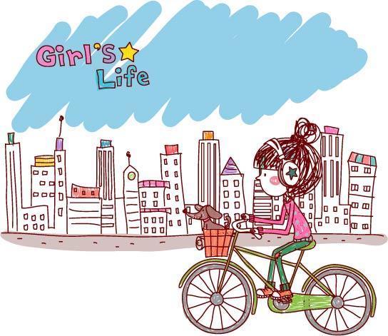 free vector Girl life vector eps girl life7