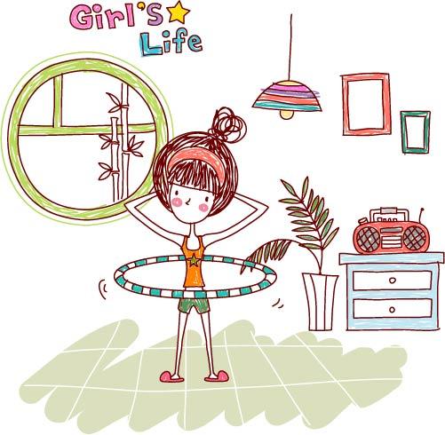 free vector Girl life vector eps girl life8