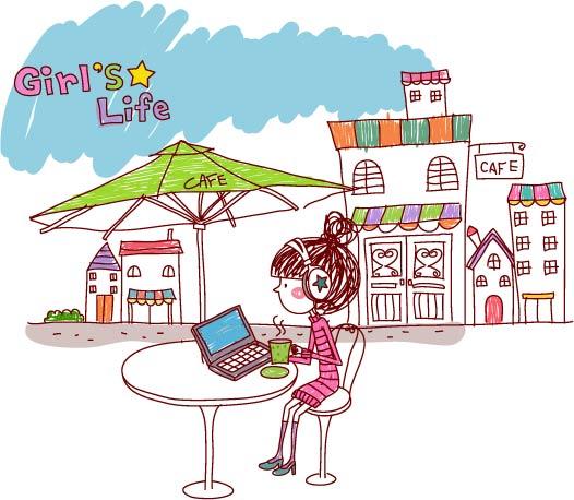 free vector Girl life vector eps girl life
