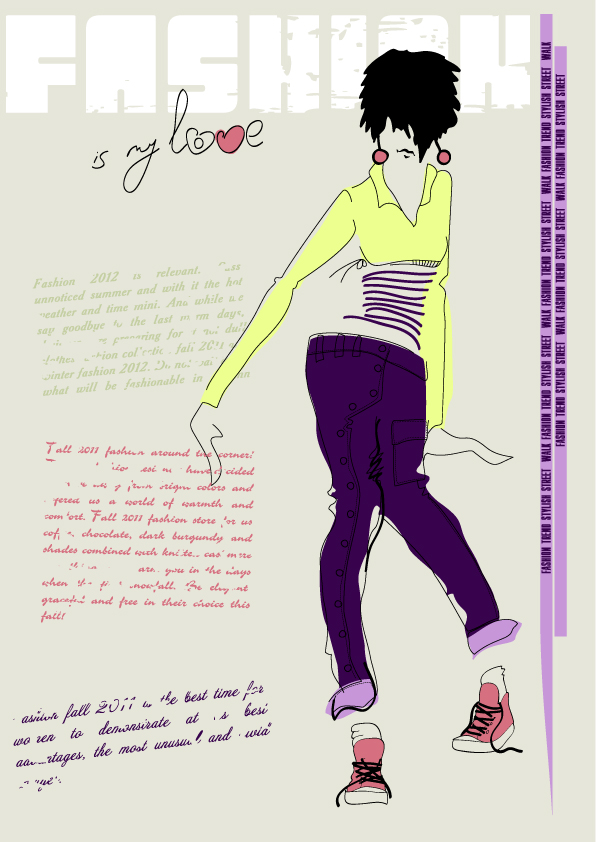 free vector Girls fashion illustrator 03 vector