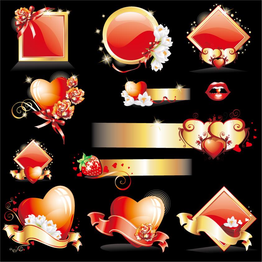 free vector Glittering love element vector