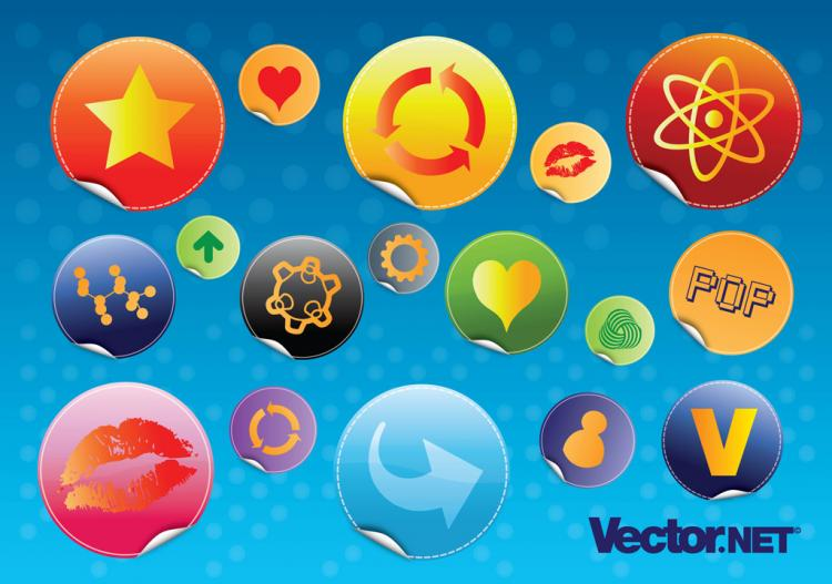 free vector Glossy Design Badges