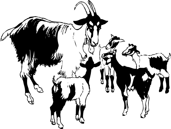 free vector Goat And Kids clip art