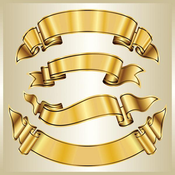 Gold banner banner vector free vector 4vector