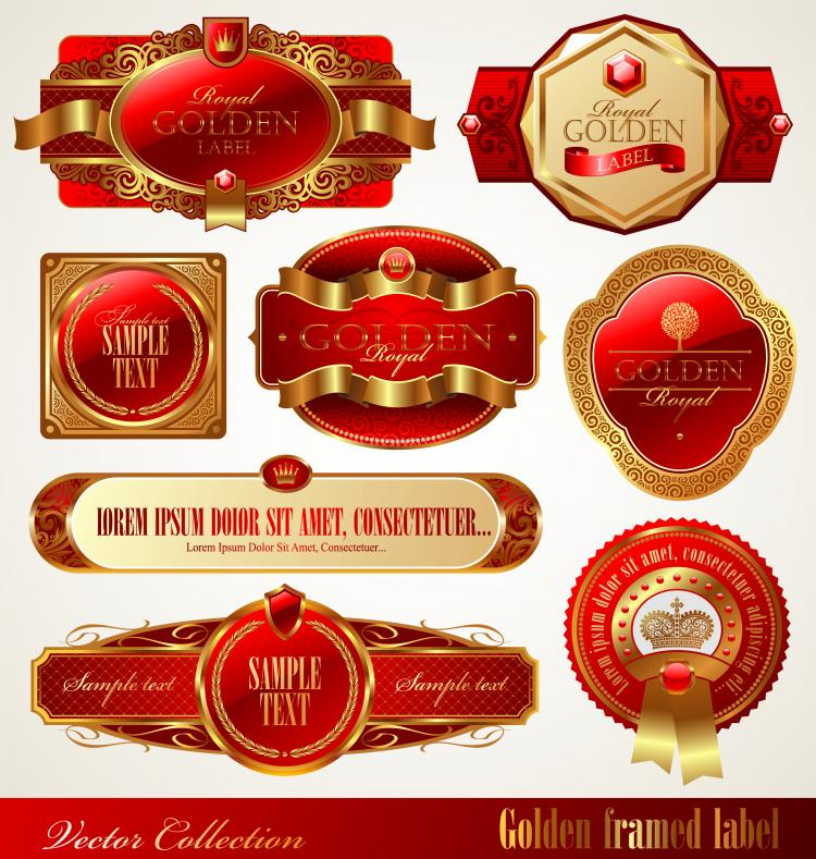 Gold Box Red Label Vector Free