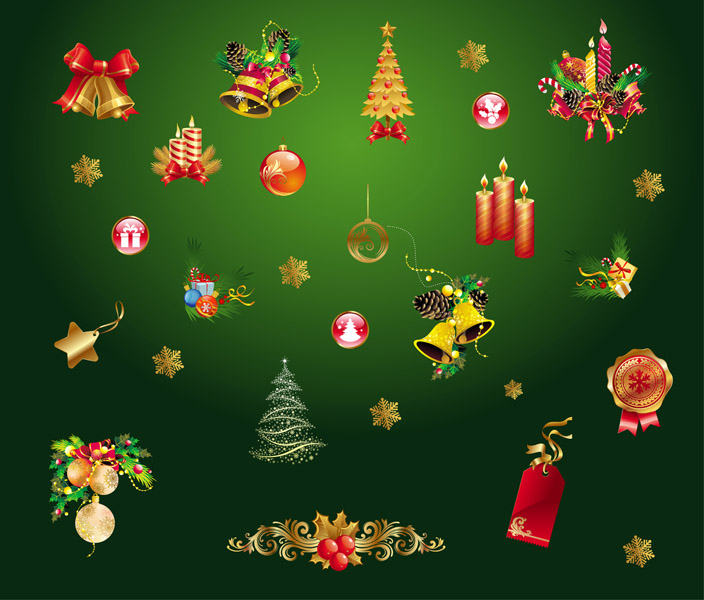 free vector Gold Christmas Decorative Elements Vector Gold Christmas