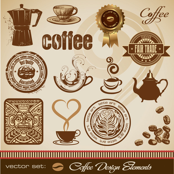 free vector Gold coffee theme vector