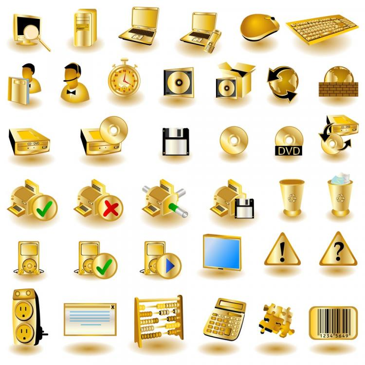free vector Gold common computer icon 01 vector