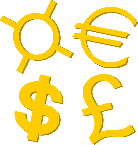 free vector Gold Currency Symbols clip art
