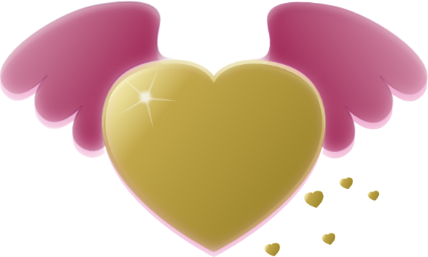 free vector Gold Heart With Pink Wings clip art