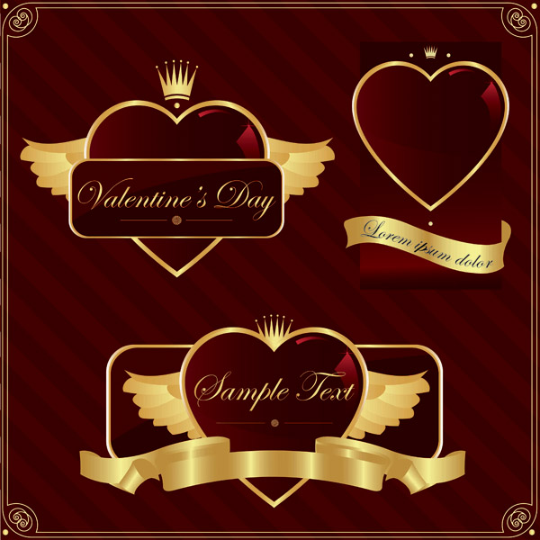 free vector Gold heartshaped vector label