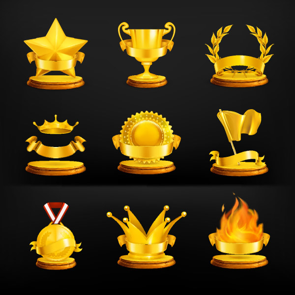 free vector Gold medal icon vector